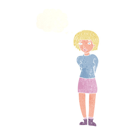shy woman: cartoon shy woman with thought bubble Illustration