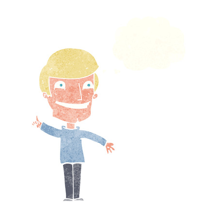 grinning: cartoon grinning man with idea with thought bubble Illustration