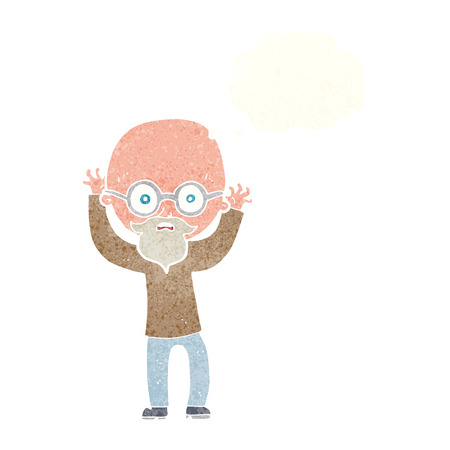 bald: cartoon stressed bald man with thought bubble
