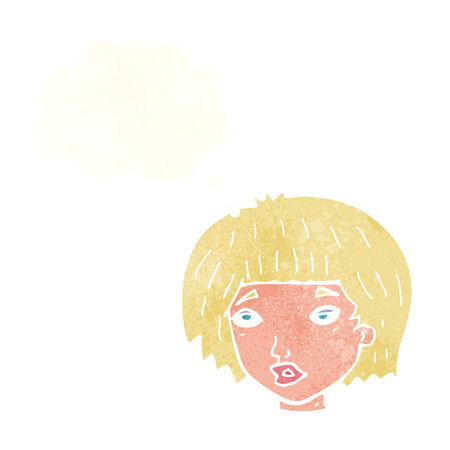 jaded: cartoon bored looking woman with thought bubble Illustration