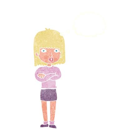 impatient: cartoon impatient woman with thought bubble Illustration