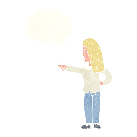 accuse: cartoon woman pointing with thought bubble