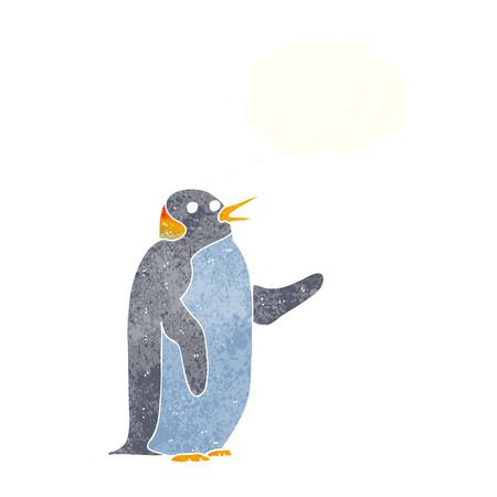 flipper: cartoon penguin waving with thought bubble