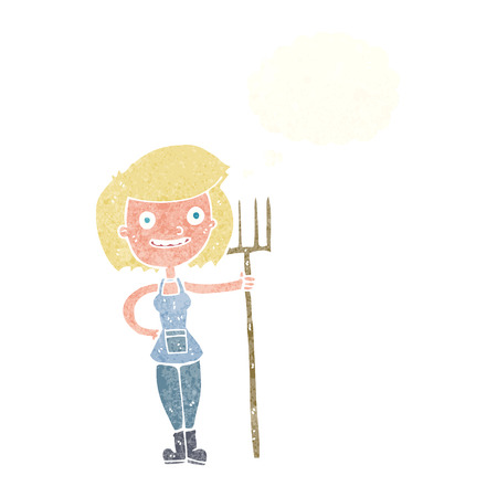 happy farmer: cartoon happy farmer girl with thought bubble Illustration