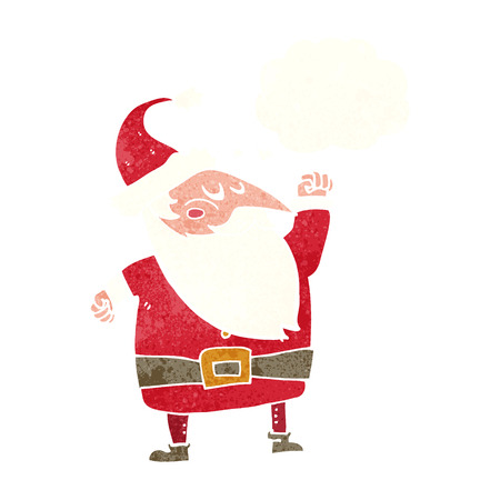 punching: cartoon santa claus punching air with thought bubble Illustration
