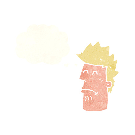 cartoon man feeling sick with thought bubble Illustration