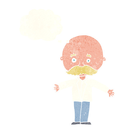 bald: cartoon bald man with open arms with thought bubble Illustration