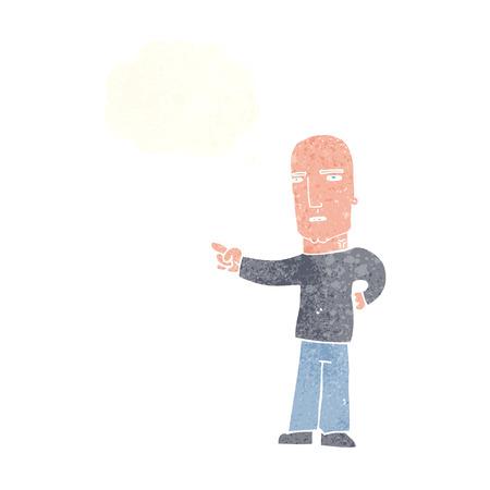 accuser: bande dessin�e tough guy pointant avec bulle de pens�e