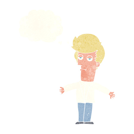 jaded: cartoon bored man with thought bubble Illustration