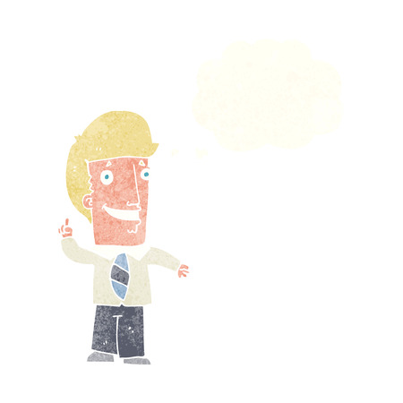 smilling: cartoon office man with idea with thought bubble