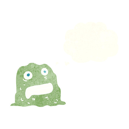 slime: cartoon slime creature with thought bubble Illustration