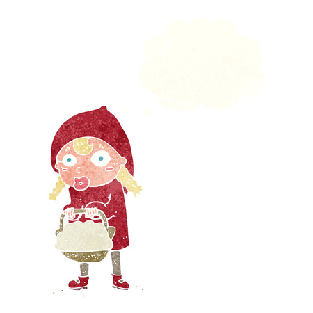 red riding hood: little red riding hood cartoon with thought bubble