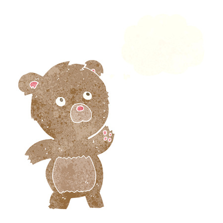 meraklı: cartoon curious teddy bear with thought bubble