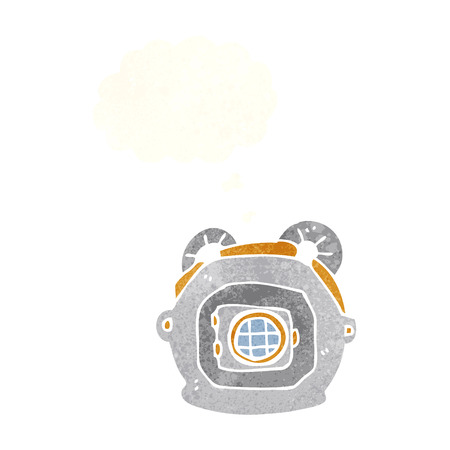 deep sea diver: cartoon old deep sea diver helmet with thought bubble Illustration