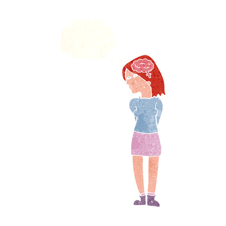 brainy: cartoon brainy woman with thought bubble Illustration