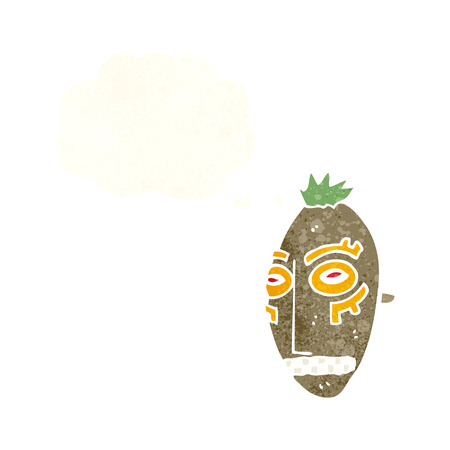 maschera tribale: cartone animato maschera tribale con bolla di pensiero Vettoriali