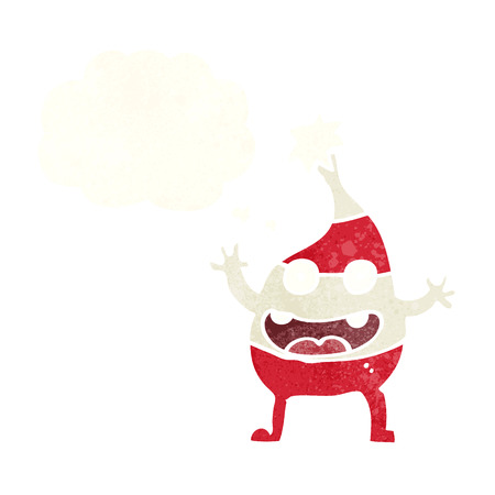 funny christmas: cartoon funny christmas creature with thought bubble