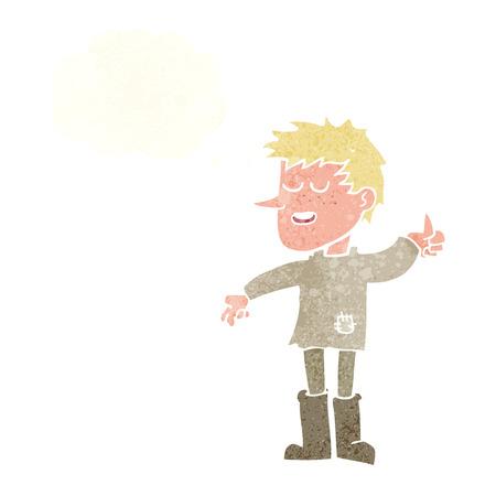 actitud positiva: dibujos animados pobre muchacho con actitud positiva con la burbuja del pensamiento