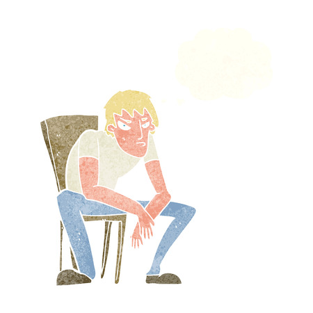dejected: cartoon dejected man with thought bubble Illustration