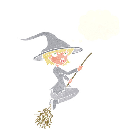 broomstick: cartoon witch riding broomstick with thought bubble