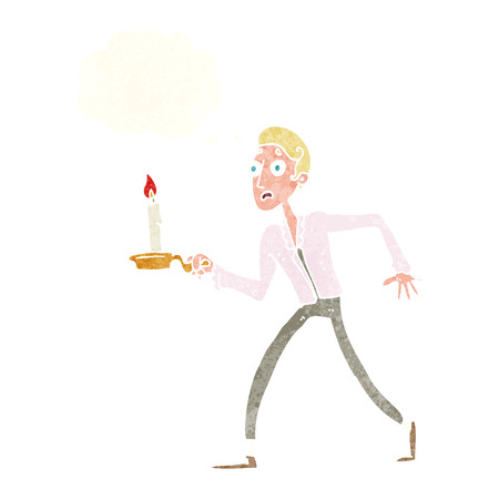 cartoon frightened man walking with candlestick with thought bubble Vector
