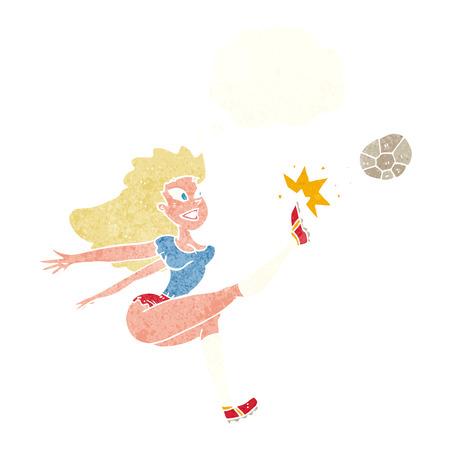 kicking ball: de dibujos animados jugador de f�tbol femenino que golpea el bal�n con la burbuja del pensamiento