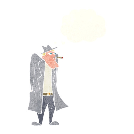 cartoon man in hat and trench coat with thought bubble Vector