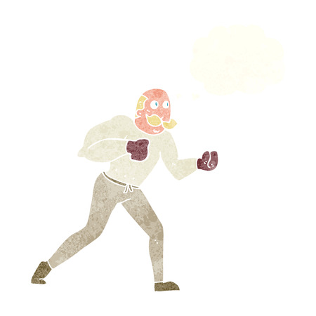 cartoon retro boxer man with thought bubble Vector