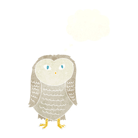 thought bubble: cartoon owl with thought bubble