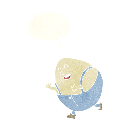 humpty dumpty: cartoon humpty dumpty egg character with thought bubble