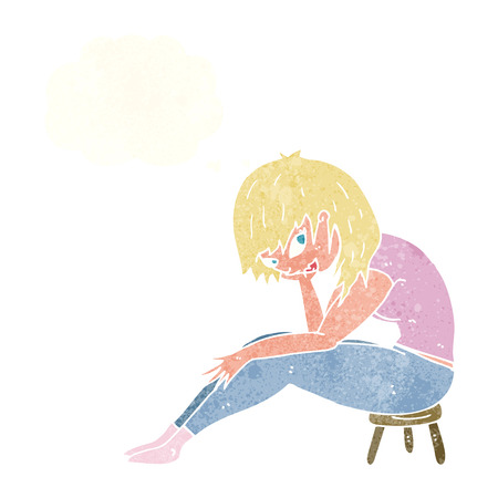 stool: cartoon woman sitting on small stool with thought bubble