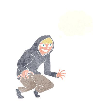 encapuchado: dibujos animados ni�o travieso en tapa encapuchada con burbuja de pensamiento Vectores