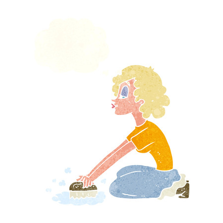 scrubbing: cartoon woman scrubbing floor with thought bubble Illustration