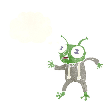 spaceman: cartoon alien spaceman with thought bubble Illustration