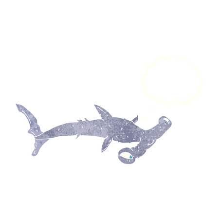 pez martillo: caricatura tibur�n martillo con burbuja de pensamiento