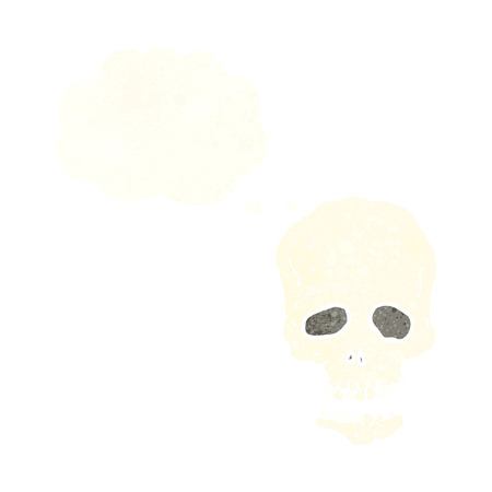 calavera caricatura: dibujos animados cr�neo con la burbuja de pensamiento Vectores