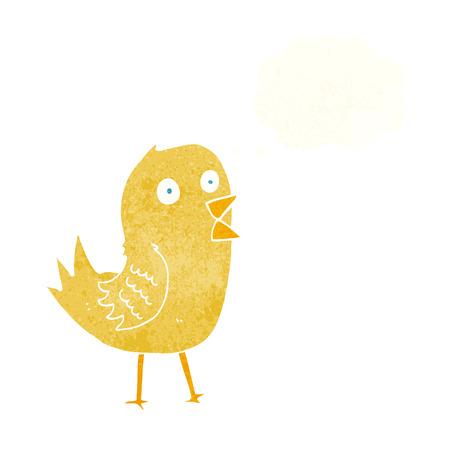 tweeting: cartoon tweeting bird with thought bubble