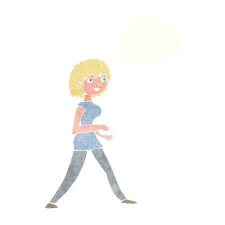 stepping: cartoon woman walking with thought bubble Illustration
