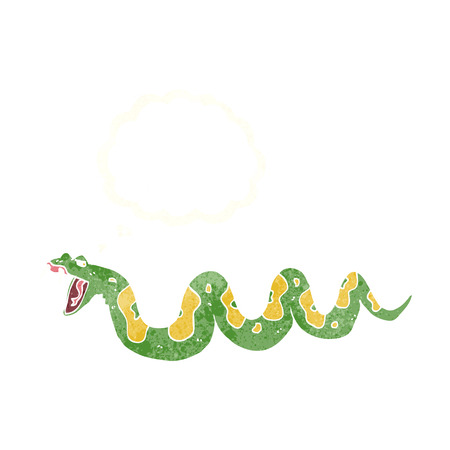 hissing: cartoon poisonous snake with thought bubble