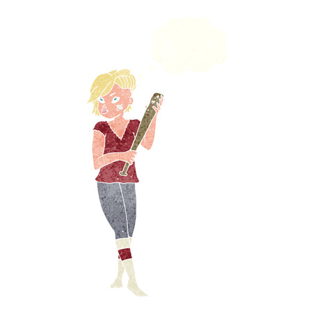 tough girl: cartoon pretty punk girl with baseball bat with thought bubble Illustration