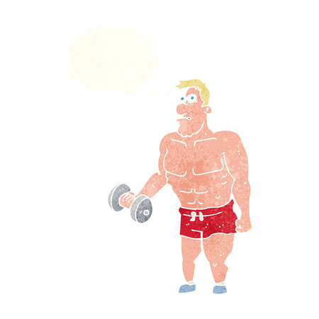 man lifting weights: cartoon man lifting weights with thought bubble Illustration