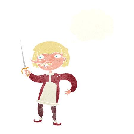 mosquetero: mosquetero de la historieta con la burbuja del pensamiento