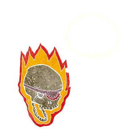 flaming: cartoon flaming pirate skull with thought bubble