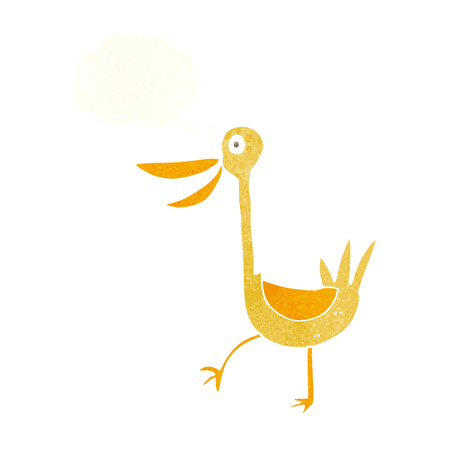cartoon duck: funny cartoon duck with thought bubble Illustration