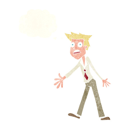 cartoon stressed man with thought bubble Illustration