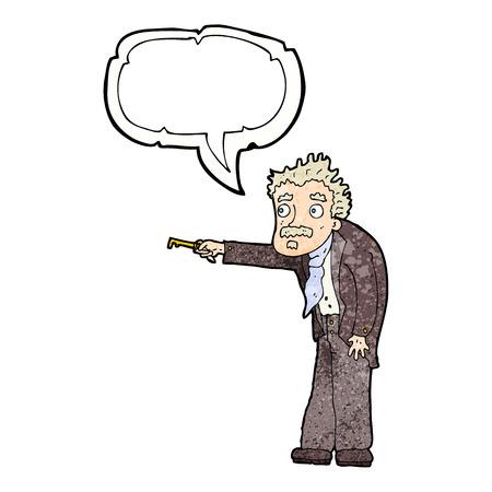 trembling: cartoon man trembling with key unlocking with speech bubble Illustration