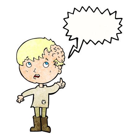 cartoon boy with growth on head with speech bubble Vector