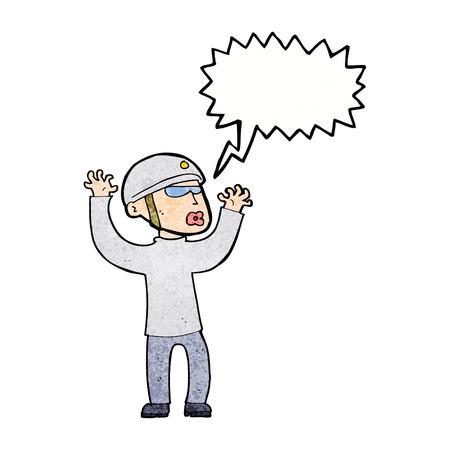 panicking: cartoon security man panicking with speech bubble Illustration