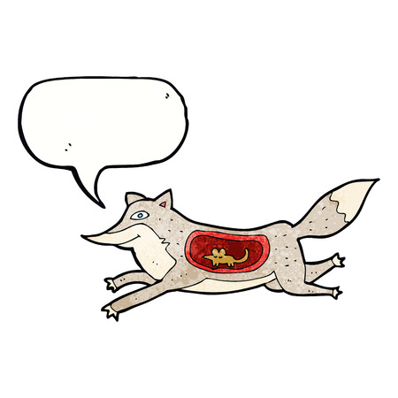 cartoon wolf with mouse in belly with speech bubble Vector
