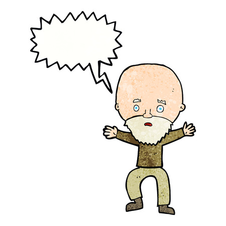 panicking: cartoon panicking old man with speech bubble